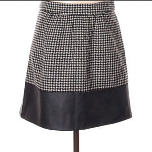 J. Crew Factory leather-trim houndstooth skirt